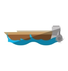 cartoon boat wave sea travel beach vector image