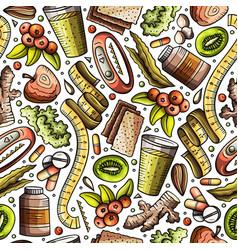 cartoon hand-drawn diet food seamless pattern vector image