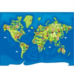 cartoon map of the world vector image vector image