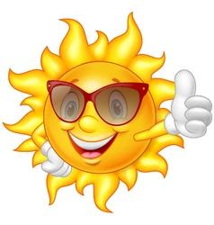 Cartoon sun giving thumb up vector image