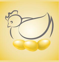 Chicken hen sitting on three golden eggs vector