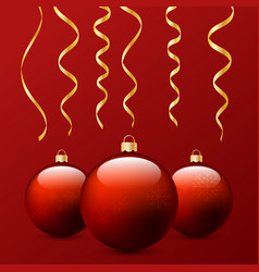 christmas balls and serpentine on a red vector image