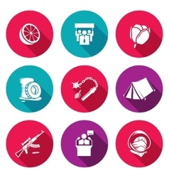 Color revolutions and coup Icons Set vector