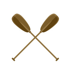 Crossed wood paddle icon flat style vector