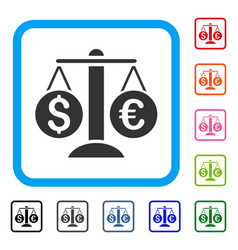 currency balance framed icon vector image