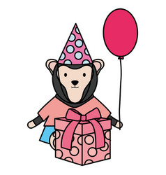 cute monkey with balloon helium and gift in vector image