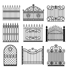 Decorative black silhouettes of fences with gates vector