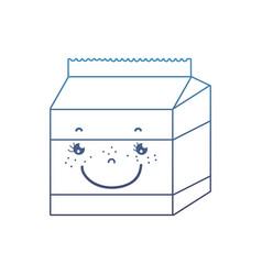 Degraded line kawaii happy milk box nutrition vector