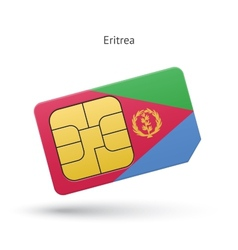 Eritrea mobile phone sim card with flag vector image
