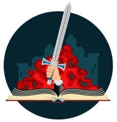 Fantasy Book with Sword vector