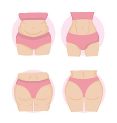 Fat and slim girl weight loss concept vector