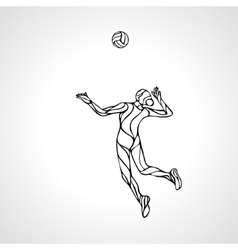 Female volleyball player outline silhouette vector