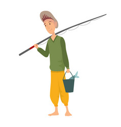 fisherman flat icons fishing people with fish vector image