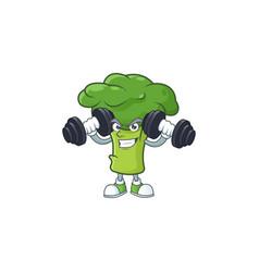 Fitness exercise green broccoli mascot icon vector