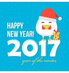 Flat design new year card with cartoon rooster vector