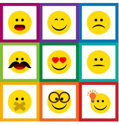 Flat icon emoji set of smile hush sad and other vector