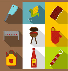 Frying meat icon set flat style vector
