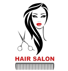 Hair salon icon with woman face and scissors vector
