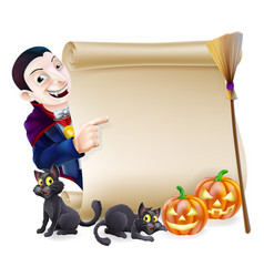 Halloween vampire dracula scroll vector