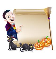 Halloween vampire dracula scroll vector