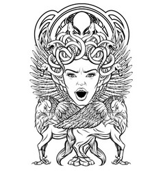 hand drawn medusa gorgon with vector image