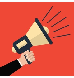 Hand holding megaphone in flat style vector
