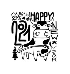 Happy new year poster year ox 2021 vector