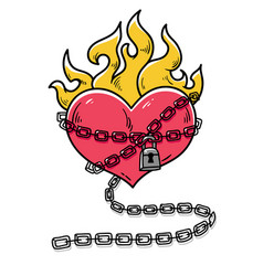 heart in chains of love flaming heart tattoo vector image