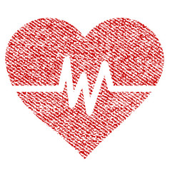 Heart pulse fabric textured icon vector