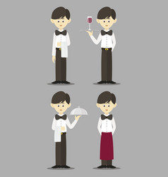 isolated professional waiter set vector image