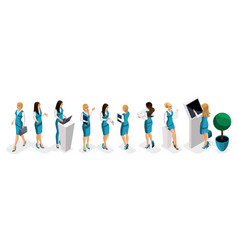 Isometric set of business lady bank girl workers vector