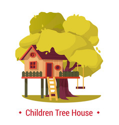 Kid house or home on tree with ladder and seesaw vector