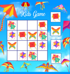 Kids crossword or logical game with paper kites vector