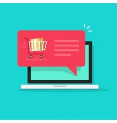 Laptop with shopping cart full red speech bubble vector