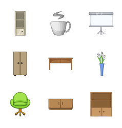 Lodging icons set cartoon style vector