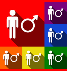 male sign set of icons with vector image