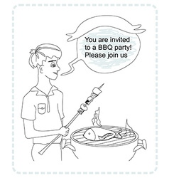 man cooking on his barbecue - funny doodle vector image