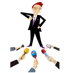mass media obtain an interview from cheerful man vector image