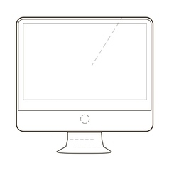 Monitor or screen icon of set dotted sketch vector