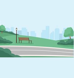 morning city park empty public place high rise vector image
