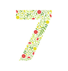 number 7 green floral number made leaves and vector image