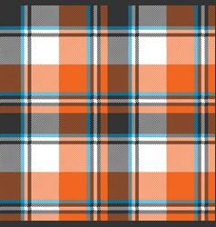 Orange check plaid seamless fabric texture vector