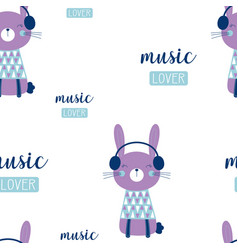 pattern with bunny in headphones vector image