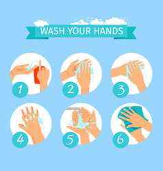 People hands washing hygiene infographic vector