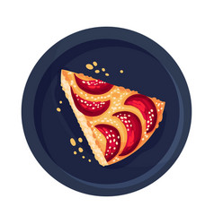 Pie or tart with fruit as dessert served on plate vector
