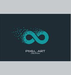 Pixel art infinity logo vector