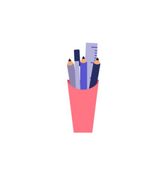 plastic cup with stationery filling - pencil vector image