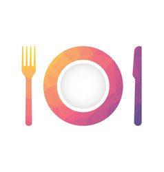 plate with fork and knife with geometric texture vector image