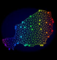 Polygonal carcass rainbow mesh map of niger vector