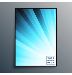poster template with blue gradient rays for vector image